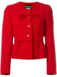 Boutique Moschino Front Bow Fitted Jacket Red