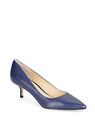 Ivanka Trump Athyna Leather Kitten Heel Pumps Dark Blue