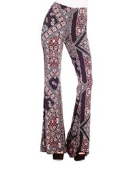 Jessica Simpson Moxie Printed Flared Pants Black Patch