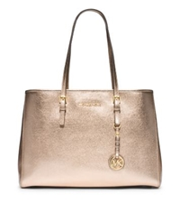 Michael Kors Jet Set Travel Large Metallic Leather Tote Pale Gold