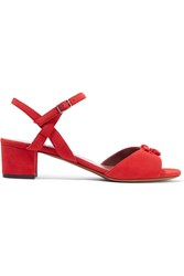 Tabitha Simmons Bonnie Bow Embellished Suede Sandals Red