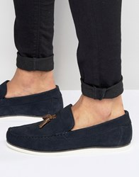 Asos Loafers In Navy Suede Navy