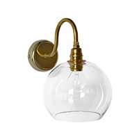 Ebb And Flow Rowan Wall Lamp 15Cm Clear With Brass