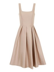 Chi Chi London Midi Dress With Bow Belt Beige