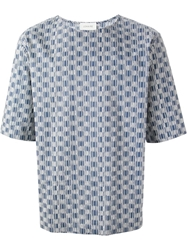 Lemaire Printed Boxy Fit T Shirt Blue
