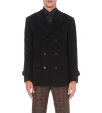 Canali Double Breasted Wool And Cashmere Blend Peacoat Navy