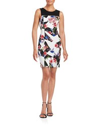 Guess Floral Illusion Dress Black Multi