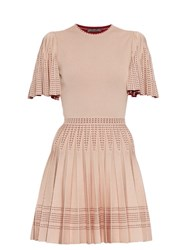 Alexander Mcqueen Pleated A Line Intarsia Knit Mini Dress Pink Multi