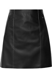 Vince Paneled Leather Mini Skirt Black