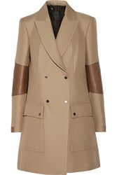 Belstaff Andover Leather Trimmed Wool And Cotton Blend Trench Coat Brown