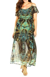 City Chic Plus Size Women's 'Super Palm' Print Cold Shoulder Maxi Dress