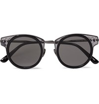 Bottega Veneta Round Frame Acetate And Silver Tone Sunglasses Black