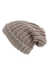 Women's Phase 3 Chunky Rib Knit Beanie Brown Tan Cinder
