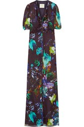 Mason By Michelle Mason Printed Silk Chiffon Gown Dark Purple