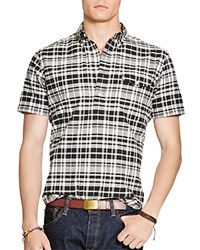 Polo Ralph Lauren Hampton Madras Plaid Regular Fit Popover Shirt Charcoal White