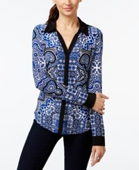 Inc International Concepts Zipper Embellished Printed Blouse Only At Macy's