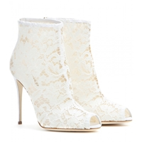 Dolce And Gabbana Lace Peep Toe Ankle Boots Milk