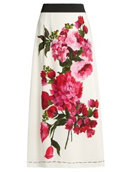Dolce And Gabbana Peony Print Crepe Skirt White Multi