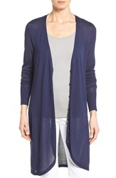 Nordstrom Women's Collection Long V Neck Cardigan Navy Evening