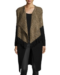 Thakoon Addition Long Draped Front Colorblock Cardigan Brown Black