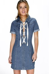 Boohoo Alice Lace Up Detail Denim Shift Dress Blue