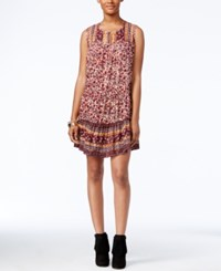 Lucky Brand Printed Shift Dress Red Multi
