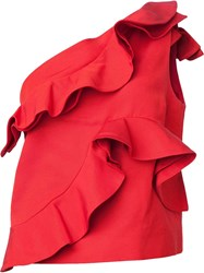 Msgm Ruffled One Shoulder Top Red