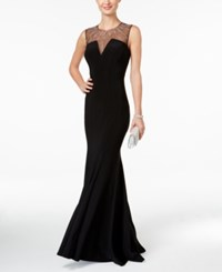 Betsy And Adam Petite Illusion Mermaid Gown Black