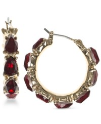 Nine West Faceted Stone Hoop Earrings Red