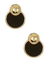 Ariella Collection Two Part Ball Stud Earrings Black