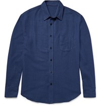 The Elder Statesman Brushed Cotton Flannel Shirt Navy