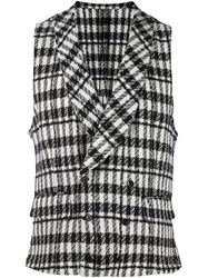 Gabriele Pasini Plaid Double Breasted Vest Black