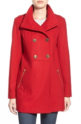 Guess Double Breasted Wool Blend Swing Coat Red