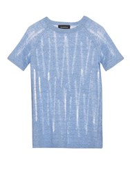 Tabula Rasa Lathi Ladder Knit Linen T Shirt Blue
