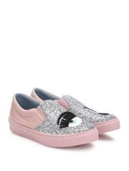 Chiara Ferragni Flirting Leather And Glitter Skate Sneakers Pink