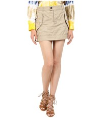 Dsquared Cotton Twill Hiapo Mini Skirt Beige Women's Skirt