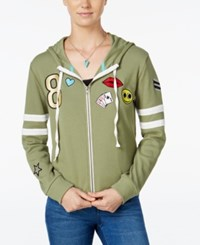 Miss Chievous Juniors' Zip Up Hoodie With Patches Faded Fatigue Bright White