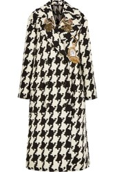 Dolce And Gabbana Oversized Appliqued Houndstooth Wool Blend Tweed Coat Black