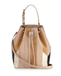 Derek Lam 10 Crosby Prince Patchwork Leather Bucket Bag Women's Canyon Multi Taupe Multi