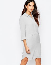 Warehouse Concealed Zip Shirt Dress Grey