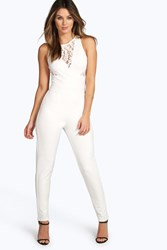 Boohoo Lace Insert Plunge Neck Jumpsuit Ivory