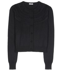 Miu Miu Wool Pointelle Cardigan Black
