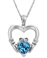 Macy's Sterling Silver Necklace Blue Topaz 1 5 8 Ct. T.W. And Diamond Accent Claddagh Pendant