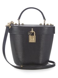 Dolce And Gabbana Lizard Effect Leather Basket Bag Black