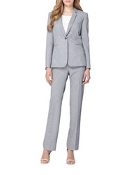 Tahari By Arthur S. Levine Petite Textured Jacket And Pant Suit Grey