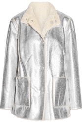 Opening Ceremony Culver Reversible Faux Shearling Coat Silver