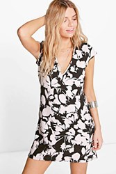 Boohoo Plunge Cap Sleeve Shift Dress Black