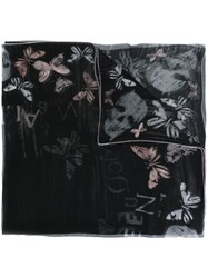 Alexander Mcqueen Skull And Butterfly Print Scarf Black