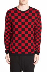 The Rail Buffalo Check Crewneck Sweater Red