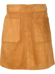 Frame Denim Suede Mini Skirt Brown